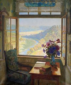 """Interior of Schloss Kirchberg with the Window Open and Outlook in a River Landscape,"" lovely oil on canvas by Dutch artist, Paul Kauzmann. Window View, Window Art, Open Window, Looking Out The Window, Through The Window, Beautiful Paintings, Painting Inspiration, Painting & Drawing, Landscape Paintings"