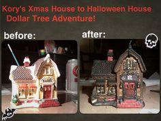 Christmas village transformed into Halloween village