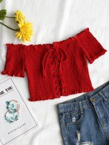 Lace Up Off Shoulder Smocked Top – Red S – Fashion is my Profession Teen Fashion Outfits, Girl Fashion, Casual Outfits, Womens Fashion, Style Fashion, Trendy Fashion, Casual Clothes, Paris Fashion, Cute Summer Outfits