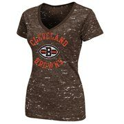 Cleveland Browns Ladies Pride Playing II Premium V-Neck T-Shirt - Brown