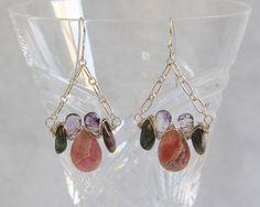 Rhodochrosite Apatite Moss Amethyst Drop Earrings, Sterling Silver Wire Wrap Woven,  Handmade Multi Gemstone Bead Jewelry Pink Blue Lavender by AdornmentsAndFrills on Etsy