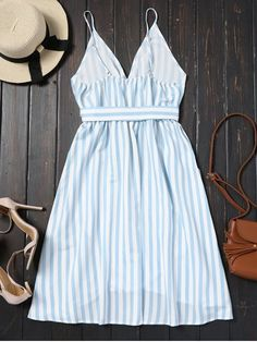 chic Belted Striped Cami Dress - CHARM S Mobile