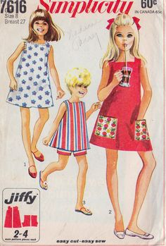 1960s Girls Summer A Line Dress and Shorts