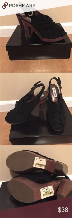 Steve Madden heels Black suede • ruffled front • open toe • gold Buckle • wooden platform and heel • BRAND NEW IN THE BOX. They are an 8.5, but Im a 7.5 and they fit me :) make an offer! Steve Madden Shoes Heels