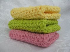 Think spring set of 3 crocheted dish towels