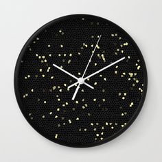 Night sky with stars wall clock,circle children room wall clock,baby room wall clock,black and white,modern wall clock,essential wall clock by forkidsfun on Etsy