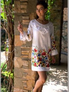 Embroidered blouse tunic Sunflowers and Poppies was created for a very beautiful and interesting woman. I wanted to save this beauty in this Embroidered Clothes, Embroidered Blouse, Folk Fashion, Womens Fashion, Look Boho, Casual Dresses, Summer Dresses, Mexican Dresses, Embroidery Fashion