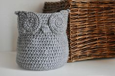 MADE TO ORDER Grey Owl Basket Crocheted Bin Yarn Holder Nursery Decor Home Organizer