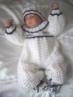 CROCHET DOLLS DESIGN Angies Angels patterns - exclusive designer knitting and crochet patterns for your precious baby or reborn dolls, handmade, handknitted, baby clothes, reborn doll clothes Knitted Baby Clothes, Baby Doll Clothes, Doll Clothes Patterns, Crochet Clothes, Baby Knits, Babies Clothes, Baby Knitting Patterns, Baby Patterns, Crochet Patterns