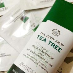 Our Tea Tree 3-in-1 Wash.Scrub.Mask is a clean and mean multi-tasking foaming cleanser! This innovative mud formula with tea tree oil fights blemished skin with 3 actions. When used as a wash, the foaming clay removes impurities and excess oil. As a scrub, the exfoliants unclog pores, smooth skin's surface and reduces the appearance of blackheads. When applied as a mask, the drying clay reduces blackheads and shine, deeply cleanses, mattifies and tightens  #CleansingMask Body Shop Tea Tree, The Body Shop, Cleanser For Combination Skin, Tea Tree Oil For Acne, Unclog Pores, Beauty Soap, Facial Cleansers, Skin Mask, Oils For Skin