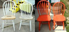 Spray Paint Kitchen Chairs (because I am so tired of brown brown brown. And I'm procrastinating planning the new school year.  )