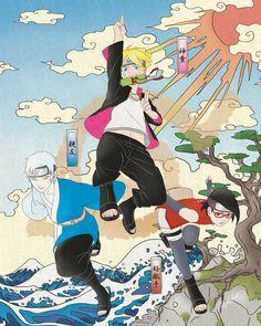 Boruto, Mitsuki, and Sadara, the new team 7 Naruto Uzumaki, Naruto Gaiden, Boruto And Sarada, Naruto Art, Anime Naruto, Team Konohamaru, Yamanaka Inojin, Ninja, Dragon Ball Z Shirt
