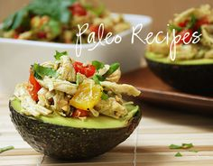 chicken salad with roasted bell peppers in avocado cups - this site has some other great paleo recipes as well!