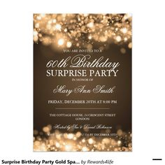 Surprise Birthday Party Gold Sparkling Lights 5x7 Paper Invitation Card