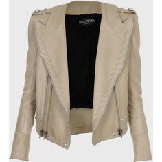 Balmain Collarless Leather jacket with epaulettes (32 225 ZAR) ❤ liked on Polyvore featuring outerwear, jackets, leather jacket, beige, collarless leather jacket, genuine leather jacket, zipper jacket, beige leather jacket and balmain jacket