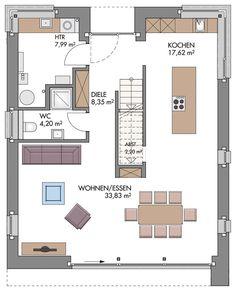 Einfamilienhaus Grundriss Erdgeschoss modern Küche offen mit Kücheninsel & Treppe gerade - Hausbau Ideen ECO Vario Haus Bönningstedt Massivhaus - HausbauDirekt.de