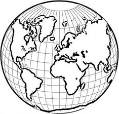 How to draw a simple cartoon earth, with line drawing for