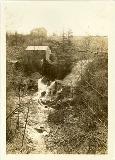 Albion Falls with mill. Date unknown. Vintage Hamilton