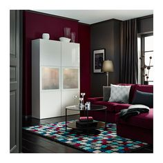 BESTÅ Storage combination w/glass doors, white, Selsviken high-gloss/white frosted glass white/Selsviken high-gloss/white frosted glass - 47 1/4x15 3/4x75 5/8