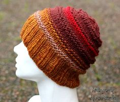 Cozy chunky hat - handknit from 100% fine and silky wool in browns, red and oranges, perfect holiday gift for her by KnitographyByMumpitz, kr200.00