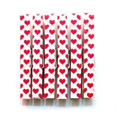 Heart polka dot decorative clothespins by dixielanddelight on Etsy, $4.00