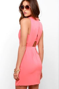 World Con-Tour Coral Pink Dress at Lulus.com! $79