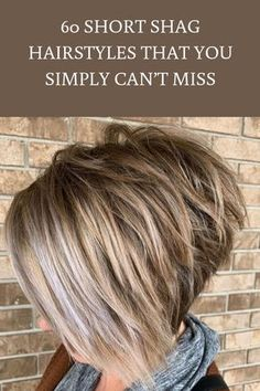 The back view of this shaggy, inverted bob is as impressive as its front. With a color palette that runs from chocolate brown to whitish blonde, it's an ultra-modern and courageous style that only the most confident women can pull off. Short Shag Hairstyles, Inverted Bob Hairstyles, Bob Hairstyles For Fine Hair, Easy Hairstyles, Short Hair Back, Short Hair Cuts, Front Hair Styles, Curly Hair Styles, Asymmetrical Bob Short