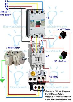 Single Phase Motor Wiring With Contactor Diagram | woodworking | Pinterest | Diagram and Driveways