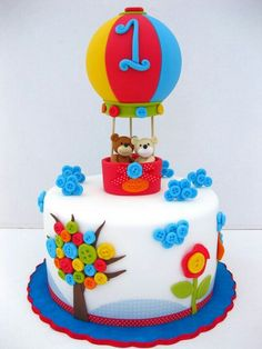 Sweet Teddy Bear Hot air Ballon & buttons #cake