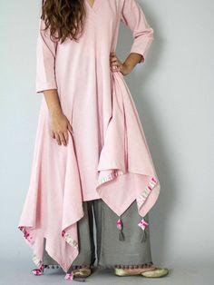 Pink Patang Tassel Khadi Kurta with Grey Palazzo Pakistani Dresses, Indian Dresses, Indian Outfits, Khadi Kurta, Salwar Kameez, Indian Attire, Indian Wear, Kurta Designs, Blouse Designs