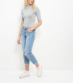 Pale Grey Funnel Neck 1/2 Sleeve Bodysuit  | New Look