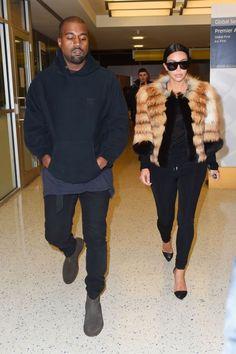 Kim & Kanye at JFK airport - January 9, 2015