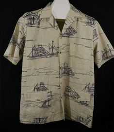 905a04fd2b40 Vtg Cooke Street Honolulu Hawaiian Shirt Ships Of Old Hawaii 4 Pocket Back  Pleat #CookeStreet