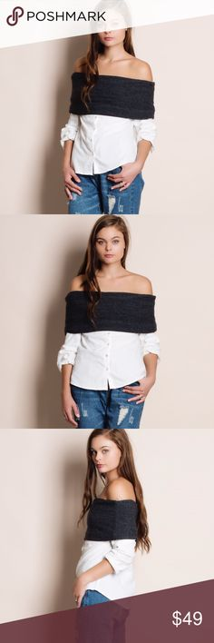 Off Shoulder Button Down Blouse Off shoulder button down blouse. Available in black and pumpkin. This listing is for the BLACK. Bare Anthology Tops Blouses