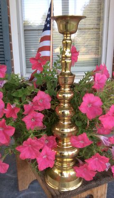 Vintage Large 18 Brass Candle Stick or Candle by ALABAMANANA, $24.99