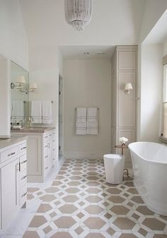 Tranquil yet stylish, a master bath