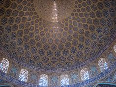 Ceiling of Sheikh Lotfollah Mosque in Isfahan