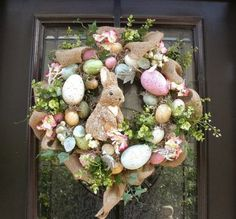 Easter Egg Wreath, Easter Bunny Wreath, Front Door Wreath Burlap, Easter Decor, Wreaths for the Door Sweet bunny & egg Easter wreath. Easter Wreaths, Holiday Wreaths, Spring Wreaths, Easter Bunny, Easter Eggs, Hoppy Easter, Diy Osterschmuck, Diy Crafts, Diy Easter Decorations