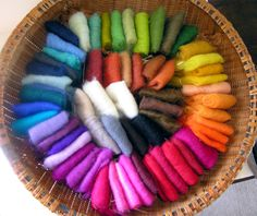 A rainbow of wool roving