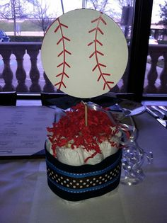 Mini Diaper Cake Centerpieces Sports Theme by TopHatsAndTuTus, $15.00