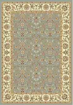 The traditional Persian and European designs of this area rug enhance any living room or home decor. With a floral motif set on light blue background with ivory border, this rug also offers accents of red, green, sage and olive.