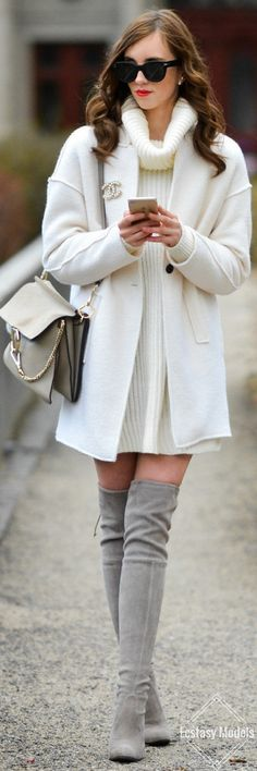 White And Grey // Fashion Look by Vogue Haus