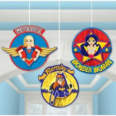 Super Hero Girls Party Hanging Honeycomb Decoration, Party Banners & Birthday Balloons - Superhero Girls Plates, Cups & Napkins - FREE UK Delivery