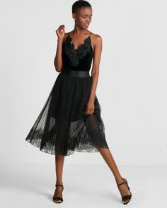 black lace tulle skirt