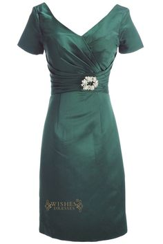 A-line V-line Short Sleeves Knee Length Dark Green Mother of The Bride Dresses Am190