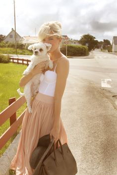 White bustier with flowy skirt. And a little dog too.