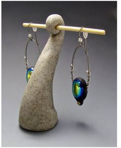 """We're sharing some simplicity as a break from a hectic last month. These polymer clay earrings by Donna Greenberg certainly fit the bill. We also love her stand, or """"jewelry show furniture"""" as she calls it. See what she's been up to and our Inspirational Challenge at The Polymer Arts magazine blog, http://www.thepolymerarts.com/blog/12110"""