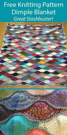 Free Knitting Pattern for Dimple Blanket Stashbuster Throw, crochet square afghan Easy Knitting, Double Knitting, Knitting Yarn, Scrap Yarn Crochet, Knitting Short Rows, Baby Knitting Patterns, Knitting Stitches, Crochet Pattern, Afghan Patterns
