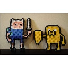 Adventure Time Finn & Jack perler beads by scarletsparkle