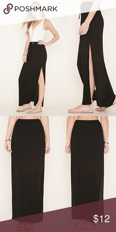 """M-Slit Maxi Skirt A crinkled woven maxi skirt featuring an M-slit front and an elastic waist. Unlined and the fabric is of lightweight material.  Model info: 5'8"""" wearing a size small (Skirt is XS) Full length @40"""", slit @27""""  Color: Black  Condition: New w/tags Forever 21 Skirts Maxi"""